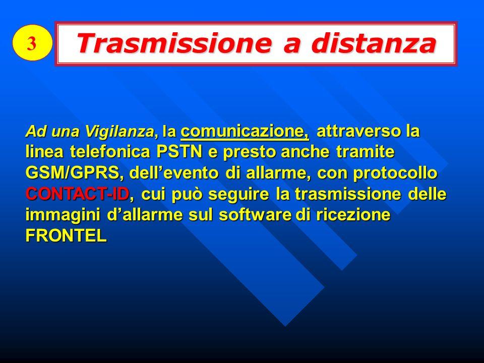 Trasmissione a distanza 3 Ad una Vigilanza, la comunicazione, attraverso la linea telefonica PSTN e presto anche tramite GSM/GPRS, dellevento di allar