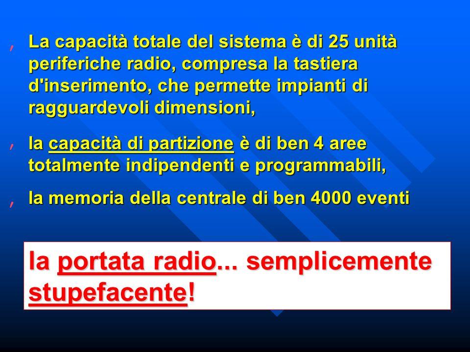 La capacità totale del sistema è di 25 unità periferiche radio, compresa la tastiera d inserimento, che permette impianti di ragguardevoli dimensioni, la capacità di partizione è di ben 4 aree totalmente indipendenti e programmabili, la memoria della centrale di ben 4000 eventi la portata radio...