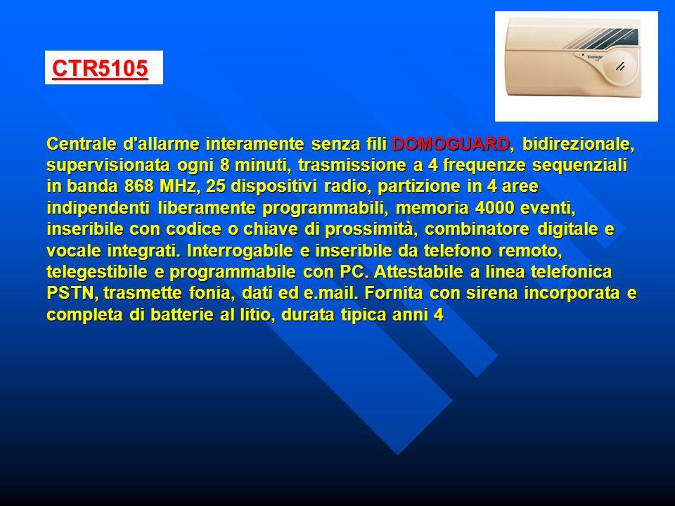 CTR5105 Centrale d'allarme interamente senza fili DOMOGUARD, bidirezionale, supervisionata ogni 8 minuti, trasmissione a 4 frequenze sequenziali in ba