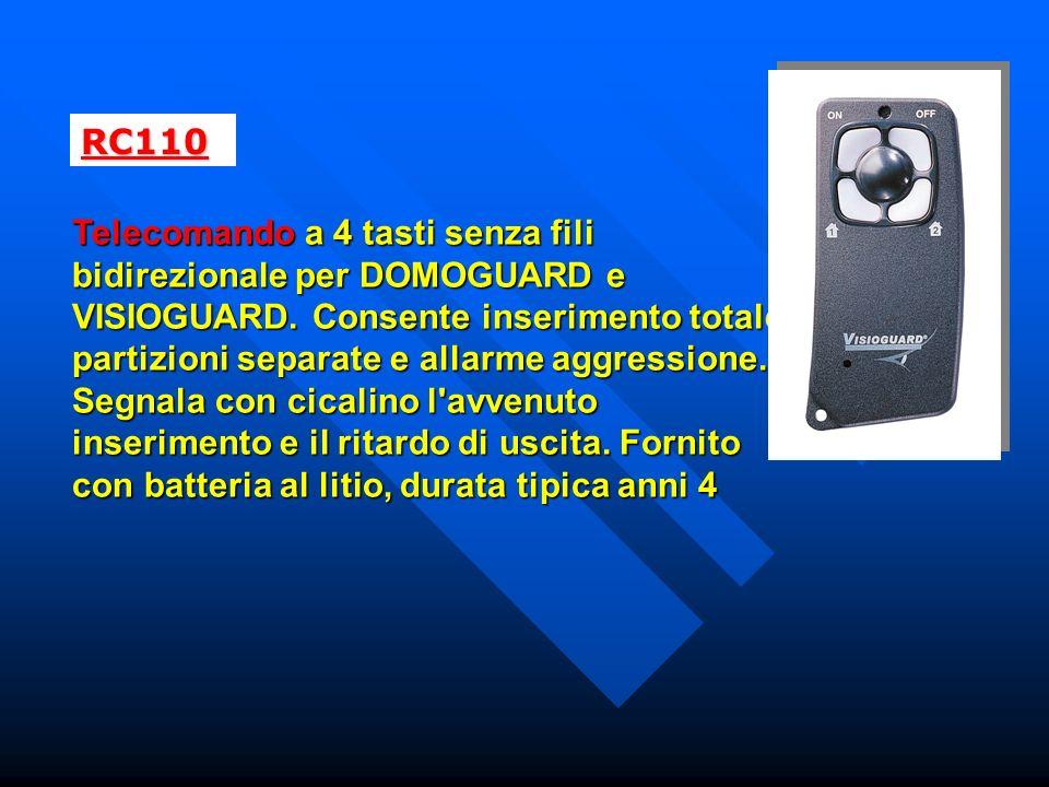 RC110 Telecomando a 4 tasti senza fili bidirezionale per DOMOGUARD e VISIOGUARD.