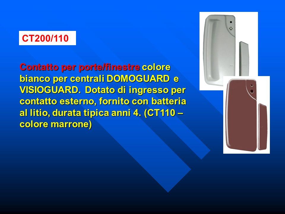 CT200/110 Contatto per porte/finestre colore bianco per centrali DOMOGUARD e VISIOGUARD. Dotato di ingresso per contatto esterno, fornito con batteria