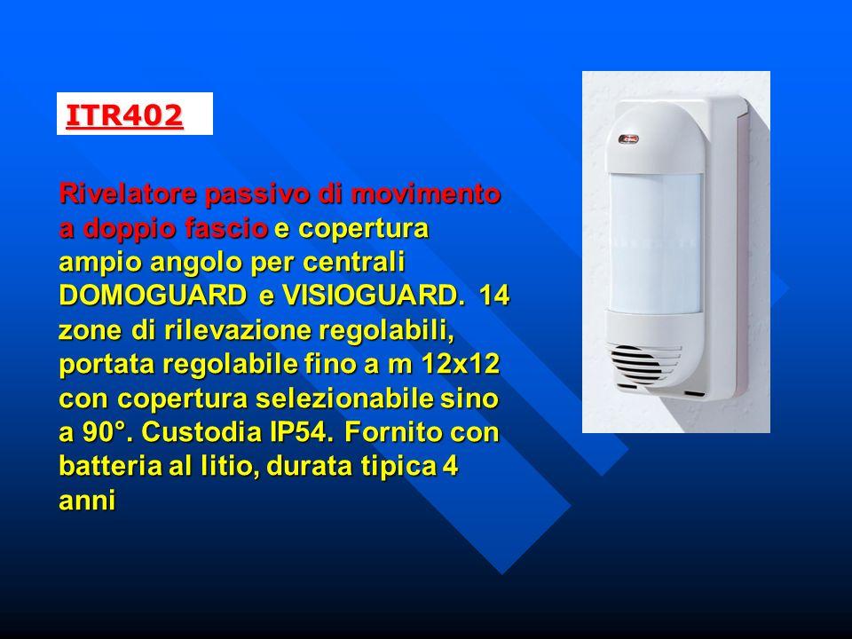 ITR402 Rivelatore passivo di movimento a doppio fascio e copertura ampio angolo per centrali DOMOGUARD e VISIOGUARD.