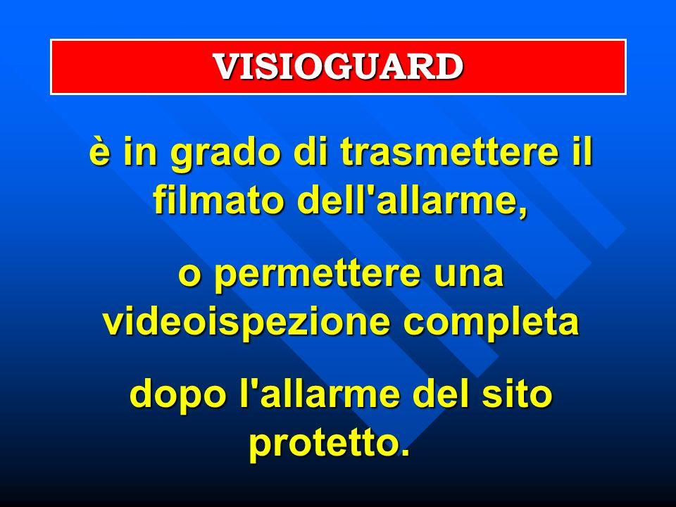 è in grado di trasmettere il filmato dell'allarme, o permettere una videoispezione completa dopo l'allarme del sito protetto. dopo l'allarme del sito