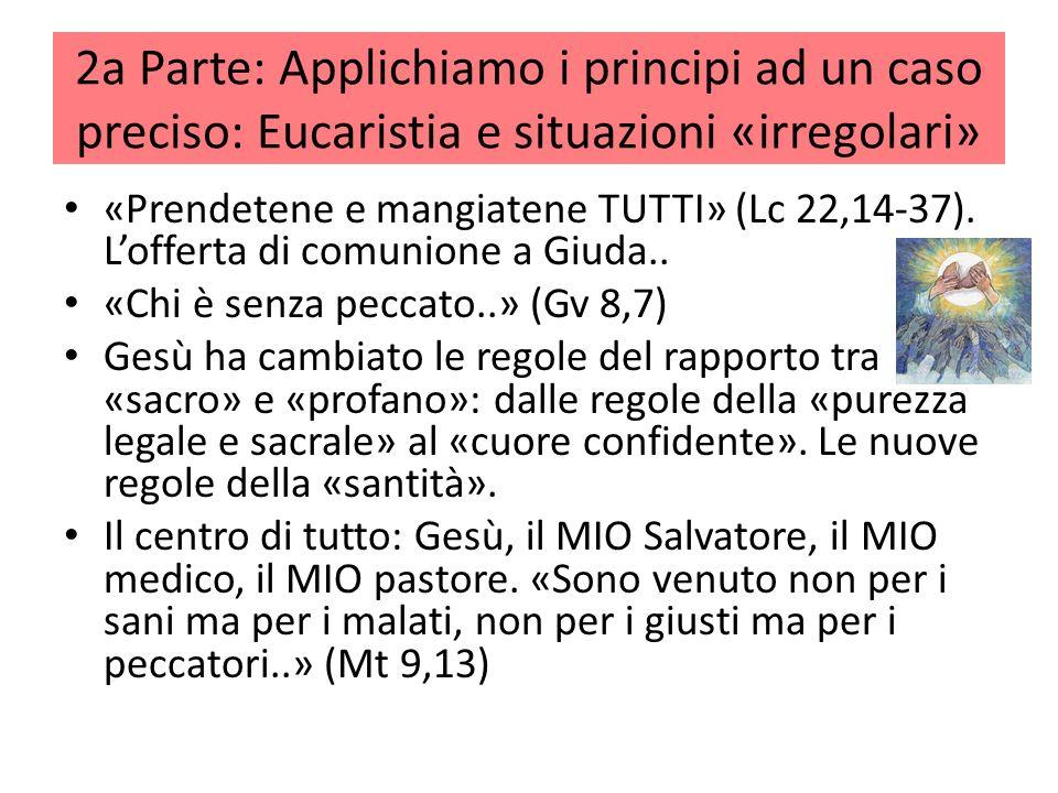 2a Parte: Applichiamo i principi ad un caso preciso: Eucaristia e situazioni «irregolari» «Prendetene e mangiatene TUTTI» (Lc 22,14-37). Lofferta di c