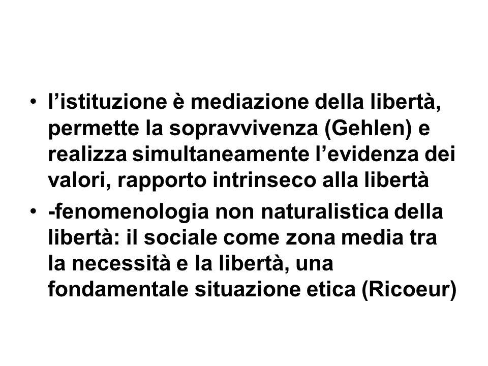 listituzione è mediazione della libertà, permette la sopravvivenza (Gehlen) e realizza simultaneamente levidenza dei valori, rapporto intrinseco alla libertà -fenomenologia non naturalistica della libertà: il sociale come zona media tra la necessità e la libertà, una fondamentale situazione etica (Ricoeur)