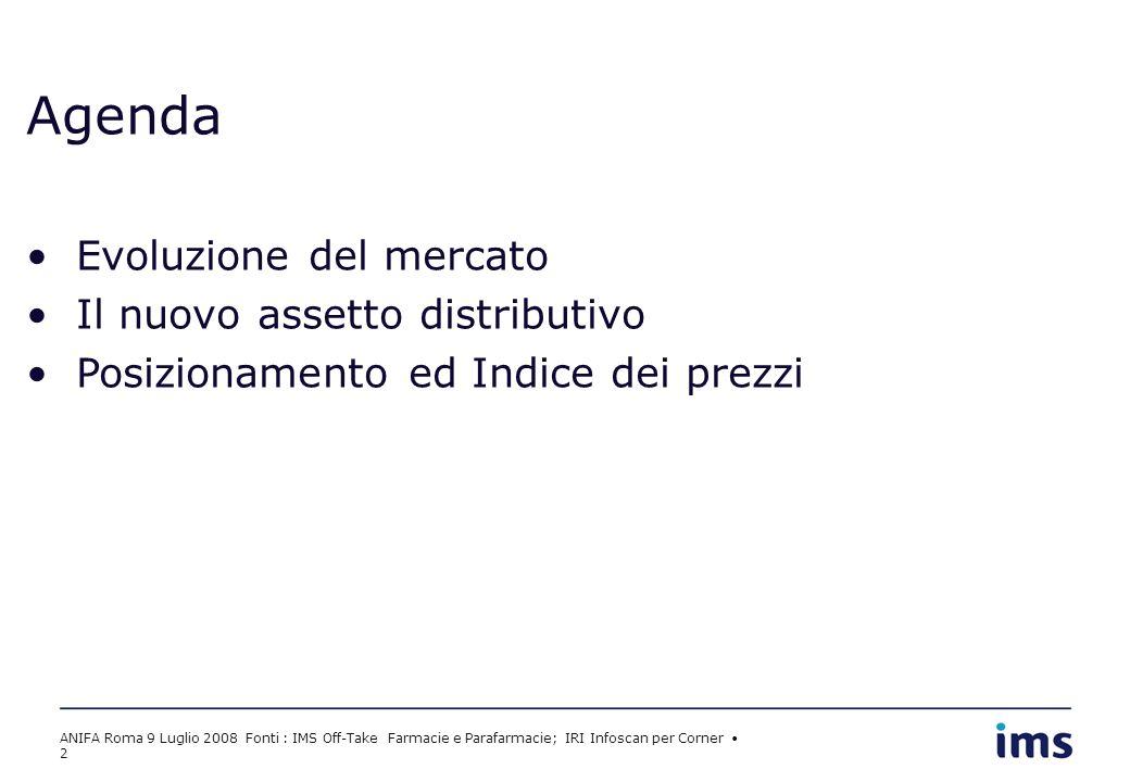 ANIFA Roma 9 Luglio 2008 Fonti : IMS Off-Take Farmacie e Parafarmacie; IRI Infoscan per Corner 2 Agenda Evoluzione del mercato Il nuovo assetto distributivo Posizionamento ed Indice dei prezzi