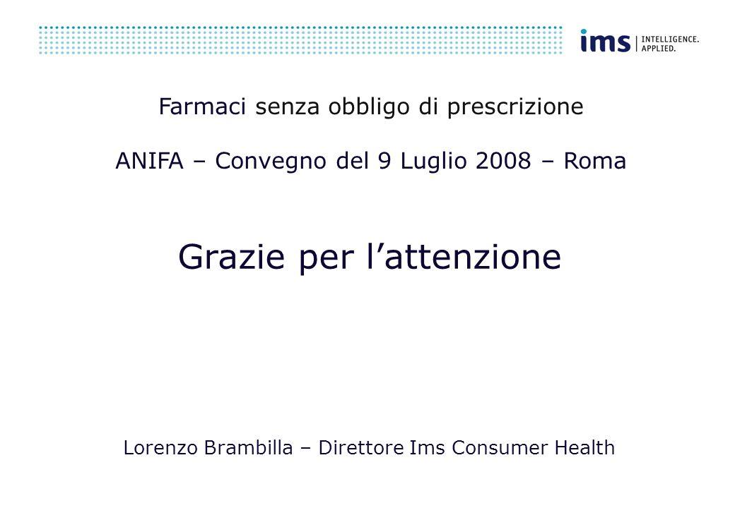 Grazie per lattenzione Lorenzo Brambilla – Direttore Ims Consumer Health Farmaci senza obbligo di prescrizione ANIFA – Convegno del 9 Luglio 2008 – Roma