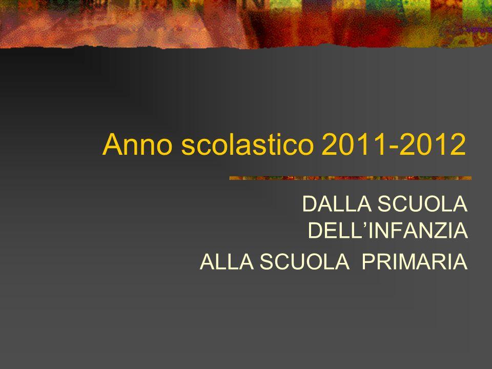 Anno scolastico 2011-2012 DALLA SCUOLA DELLINFANZIA ALLA SCUOLA PRIMARIA