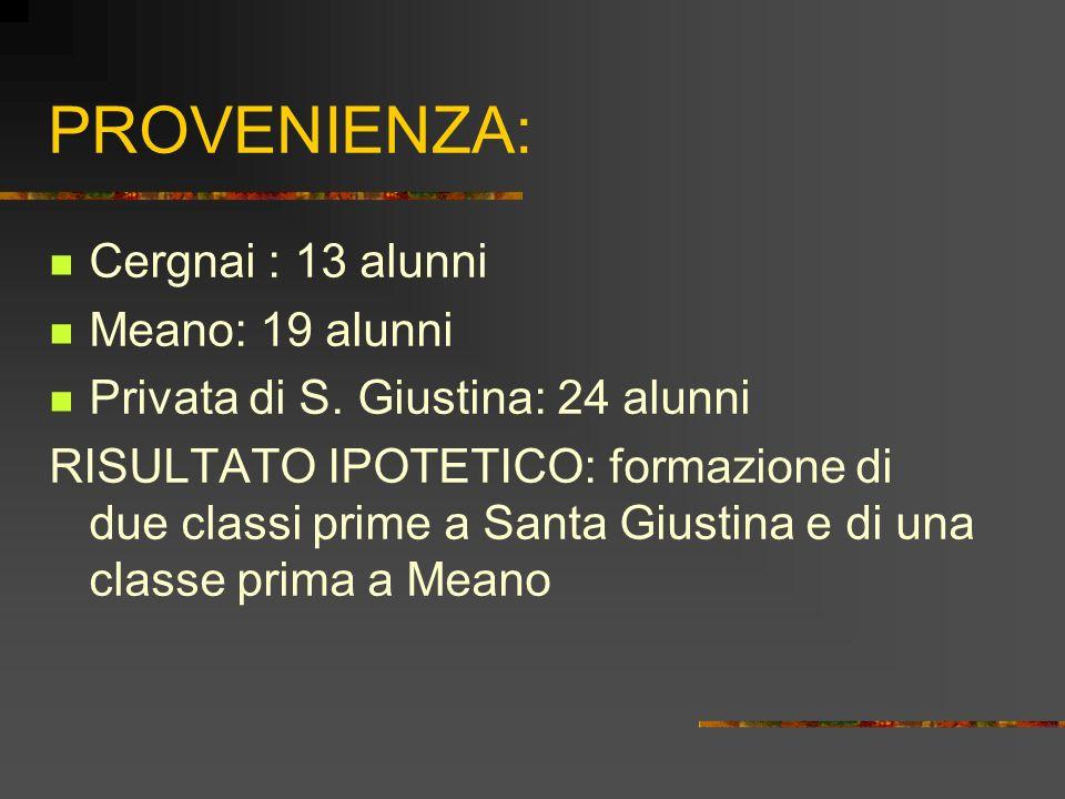 PROVENIENZA: Cergnai : 13 alunni Meano: 19 alunni Privata di S.