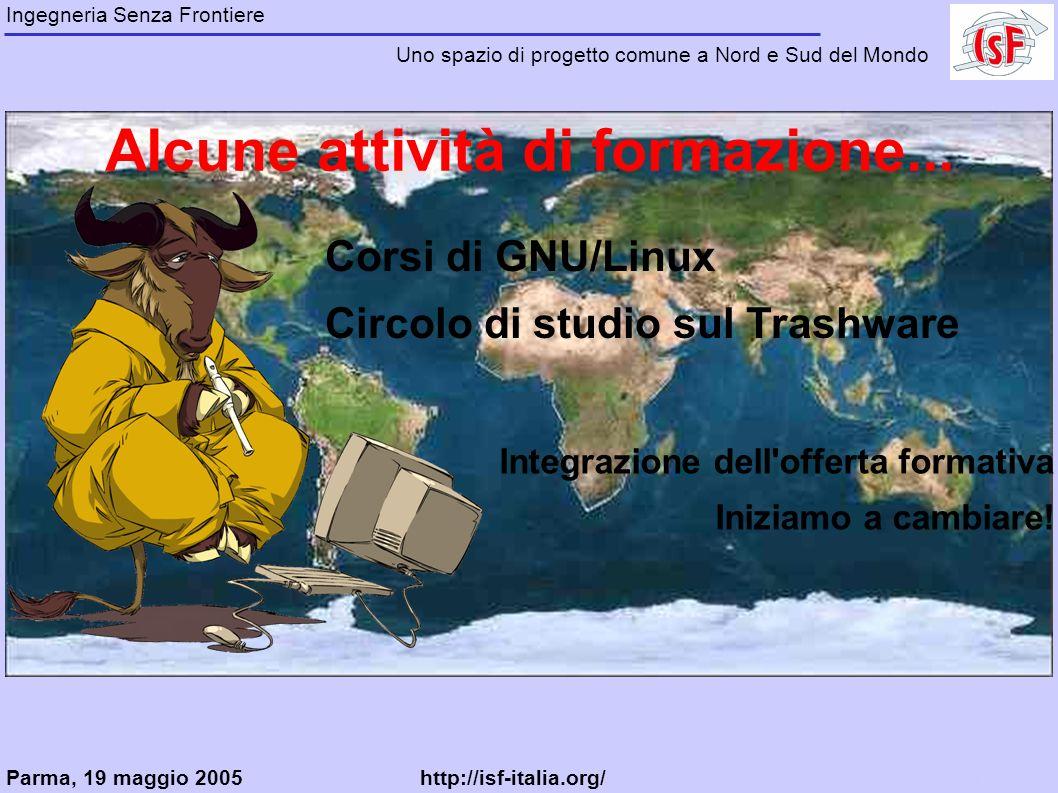 Ingegneria Senza Frontiere Uno spazio di progetto comune a Nord e Sud del Mondo Alcune attività di formazione...