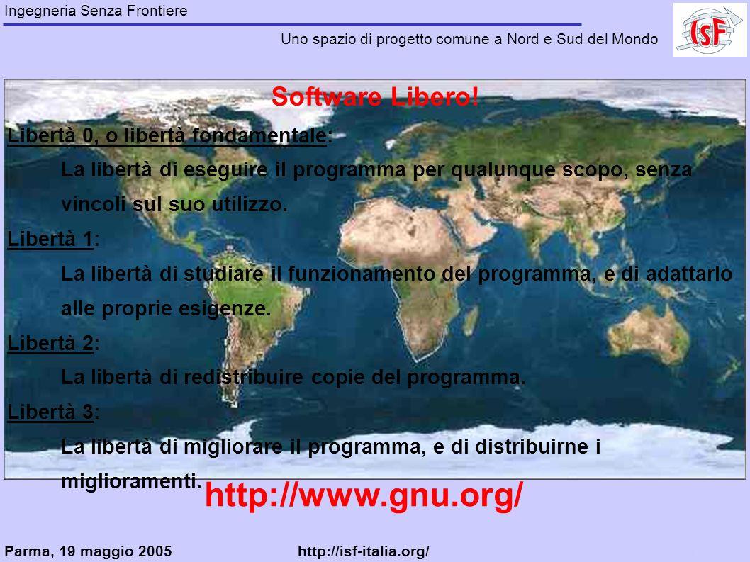 Software Libero! Libertà 0, o libertà fondamentale: La libertà di eseguire il programma per qualunque scopo, senza vincoli sul suo utilizzo. Libertà 1