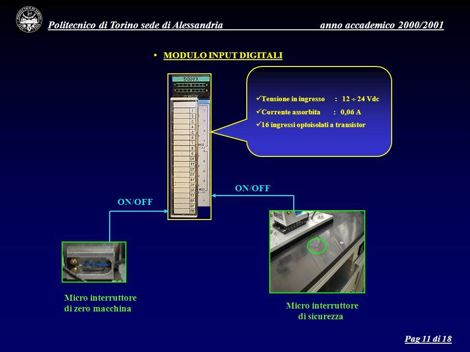 Politecnico di Torino sede di Alessandria anno accademico 2000/2001 MODULO INPUT DIGITALI Tensione in ingresso : 12 24 Vdc Corrente assorbita : 0,06 A