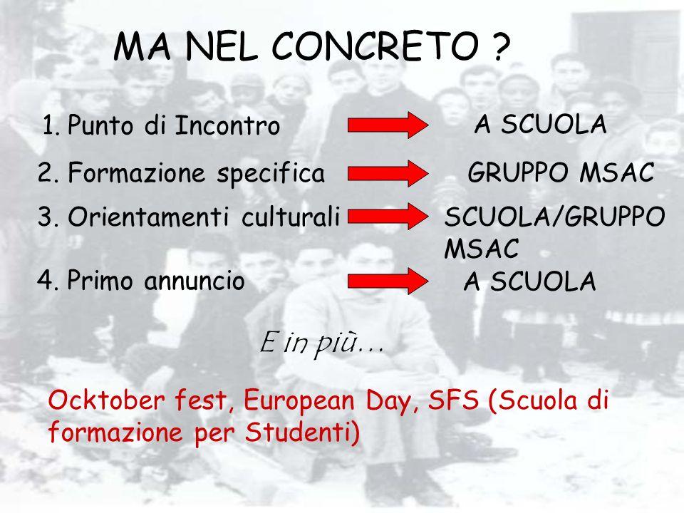 MA NEL CONCRETO ? 1.Punto di Incontro E in più… Ocktober fest, European Day, SFS (Scuola di formazione per Studenti) 2. Formazione specifica 3. Orient