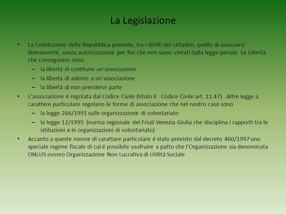 La Legislazione La Costituzione della Repubblica prevede, tra i diritti dei cittadini, quello di associarsi liberamente, senza autorizzazione per fini
