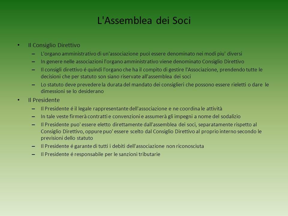 L'Assemblea dei Soci Il Consiglio Direttivo – L'organo amministrativo di un'associazione puoì essere denominato nei modi piu' diversi – In genere nell