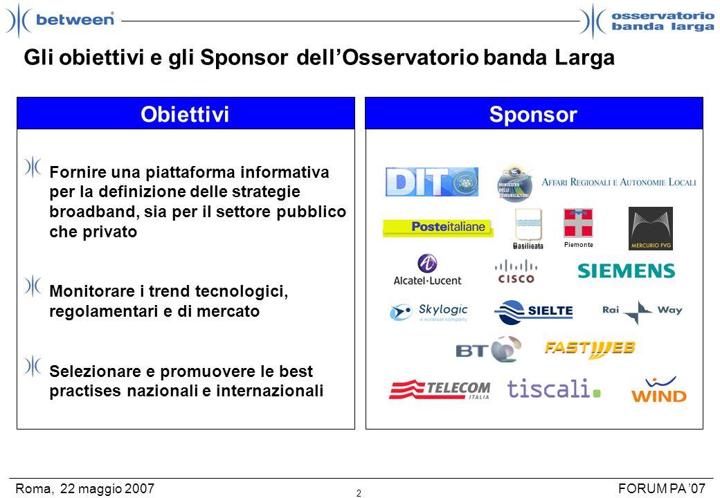 2 FORUM PA 07Roma, 22 maggio 2007 Gli obiettivi e gli Sponsor dellOsservatorio banda Larga Fornire una piattaforma informativa per la definizione dell