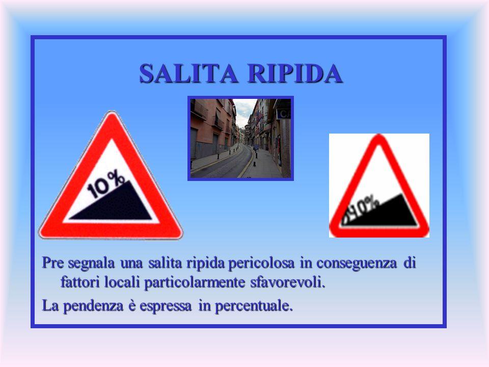 SALITA RIPIDA Pre segnala una salita ripida pericolosa in conseguenza di fattori locali particolarmente sfavorevoli. La pendenza è espressa in percent