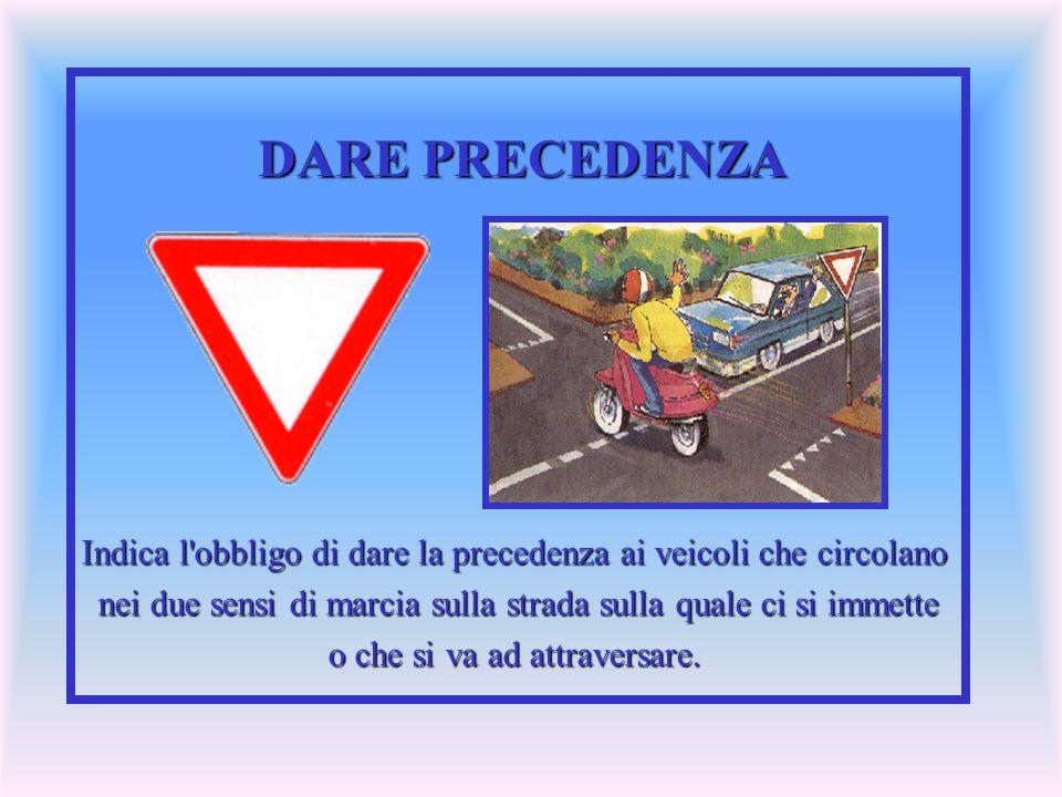 DARE PRECEDENZA Indica l'obbligo di dare la precedenza ai veicoli che circolano nei due sensi di marcia sulla strada sulla quale ci si immette nei due