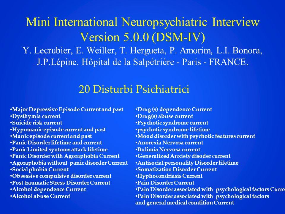 Mini International Neuropsychiatric Interview Version 5.0.0 (DSM-IV) Y.