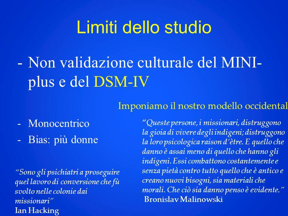 Limiti dello studio -Non validazione culturale del MINI- plus e del DSM-IV -Monocentrico -Bias: più donne Imponiamo il nostro modello occidentale.