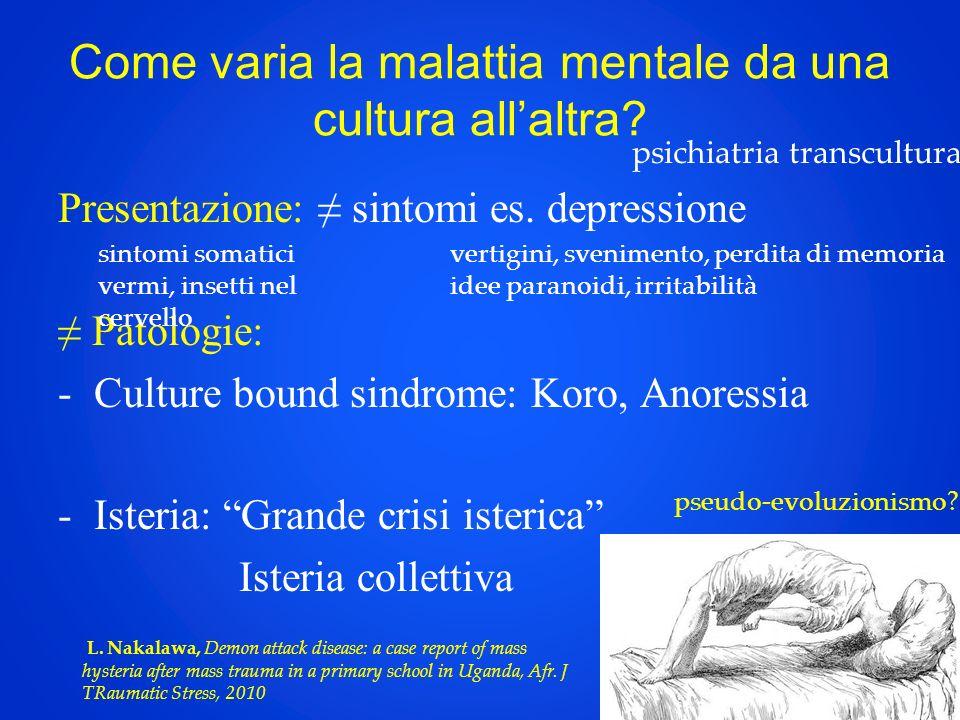 Come varia la malattia mentale da una cultura allaltra? Presentazione: sintomi es. depressione Patologie: -Culture bound sindrome: Koro, Anoressia -Is