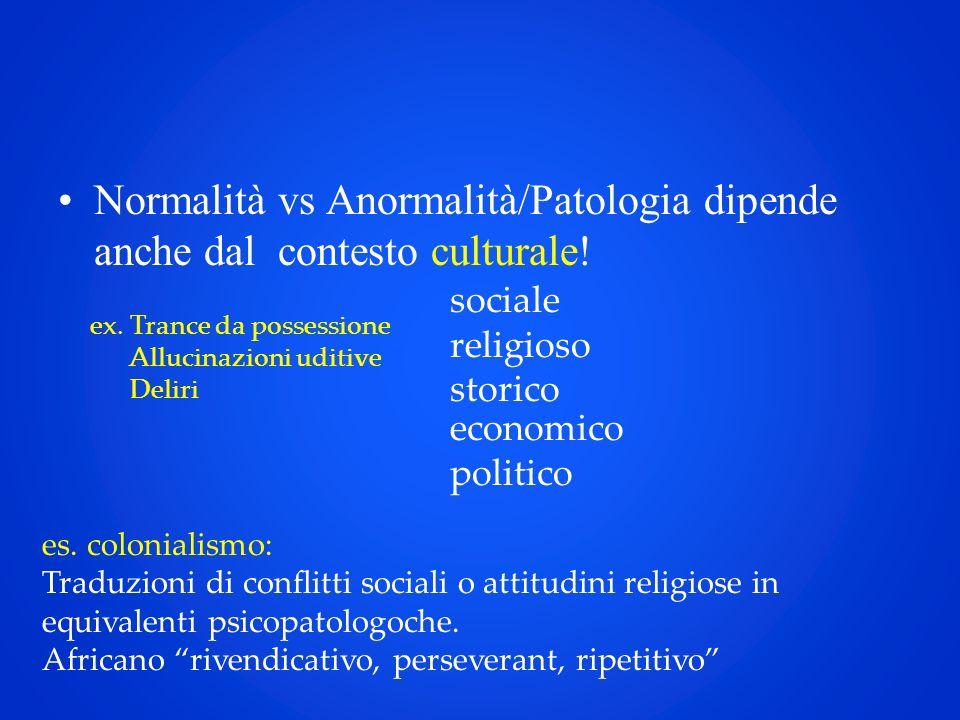 Normalità vs Anormalità/Patologia dipende anche dal contesto culturale! ex. Trance da possessione Allucinazioni uditive Deliri sociale religioso stori