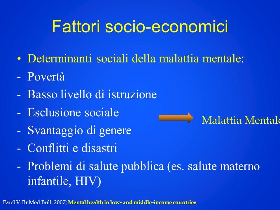 Fattori socio-economici Determinanti sociali della malattia mentale: -Povertà -Basso livello di istruzione -Esclusione sociale -Svantaggio di genere -Conflitti e disastri -Problemi di salute pubblica (es.