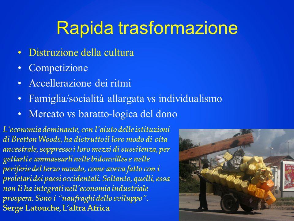 Rapida trasformazione Distruzione della cultura Competizione Accellerazione dei ritmi Famiglia/socialità allargata vs individualismo Mercato vs baratt