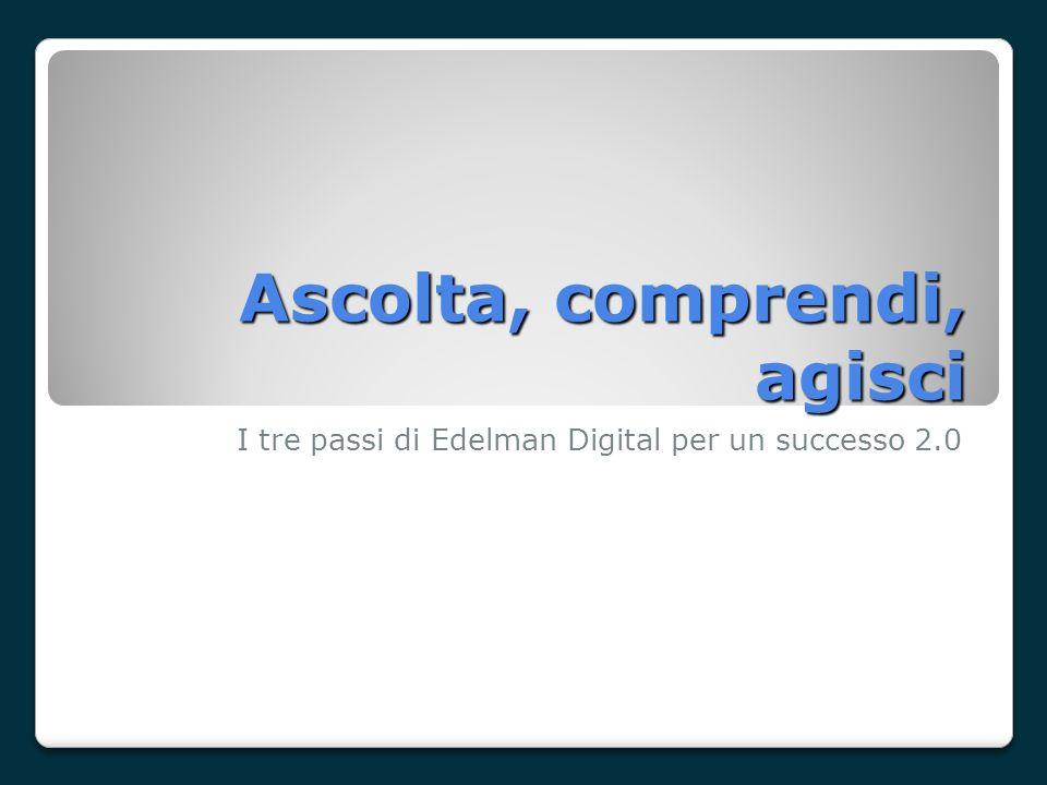 Ascolta, comprendi, agisci I tre passi di Edelman Digital per un successo 2.0