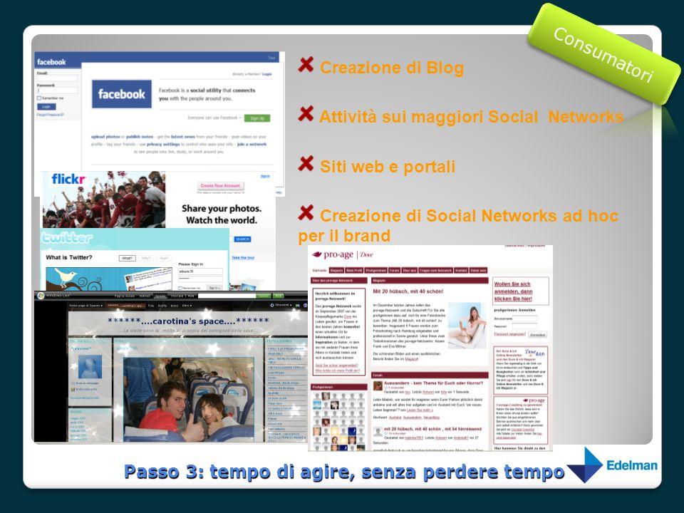 Creazione di Blog Attività sui maggiori Social Networks Siti web e portali Creazione di Social Networks ad hoc per il brand Passo 3: tempo di agire, s