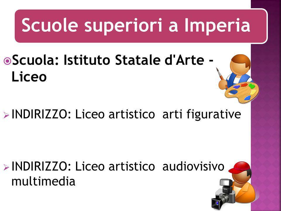 Scuola: Istituto Statale d Arte - Liceo INDIRIZZO: Liceo artistico arti figurative INDIRIZZO: Liceo artistico audiovisivo multimedia