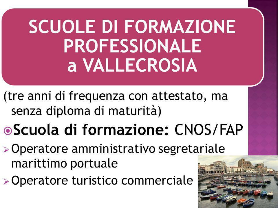 (tre anni di frequenza con attestato, ma senza diploma di maturità) Scuola di formazione: CNOS/FAP Operatore amministrativo segretariale marittimo portuale Operatore turistico commerciale