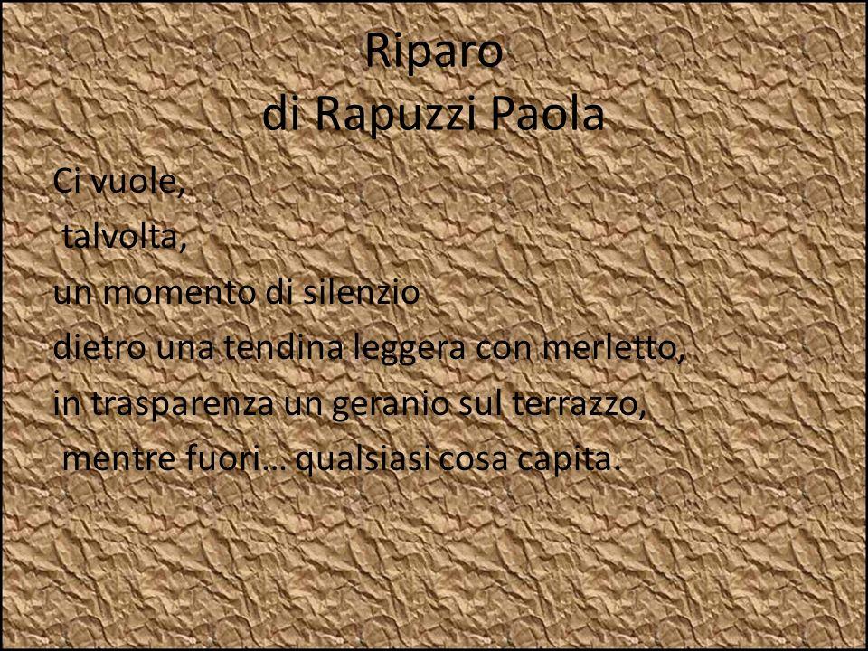Riparo di Rapuzzi Paola Ci vuole, talvolta, un momento di silenzio dietro una tendina leggera con merletto, in trasparenza un geranio sul terrazzo, me