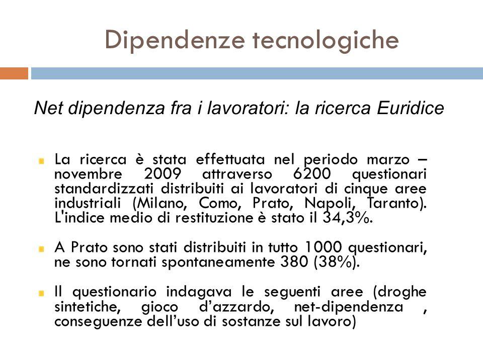 Dipendenze tecnologiche La ricerca è stata effettuata nel periodo marzo – novembre 2009 attraverso 6200 questionari standardizzati distribuiti ai lavo