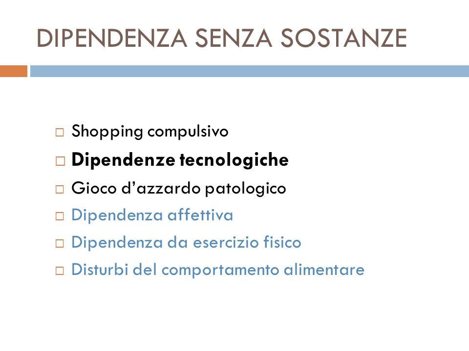 DIPENDENZA SENZA SOSTANZE Shopping compulsivo Dipendenze tecnologiche Gioco dazzardo patologico Dipendenza affettiva Dipendenza da esercizio fisico Di