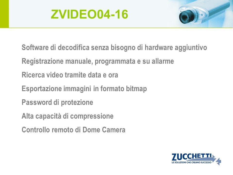 Controllo remoto di Dome Camera Software di decodifica senza bisogno di hardware aggiuntivo Registrazione manuale, programmata e su allarme Ricerca vi