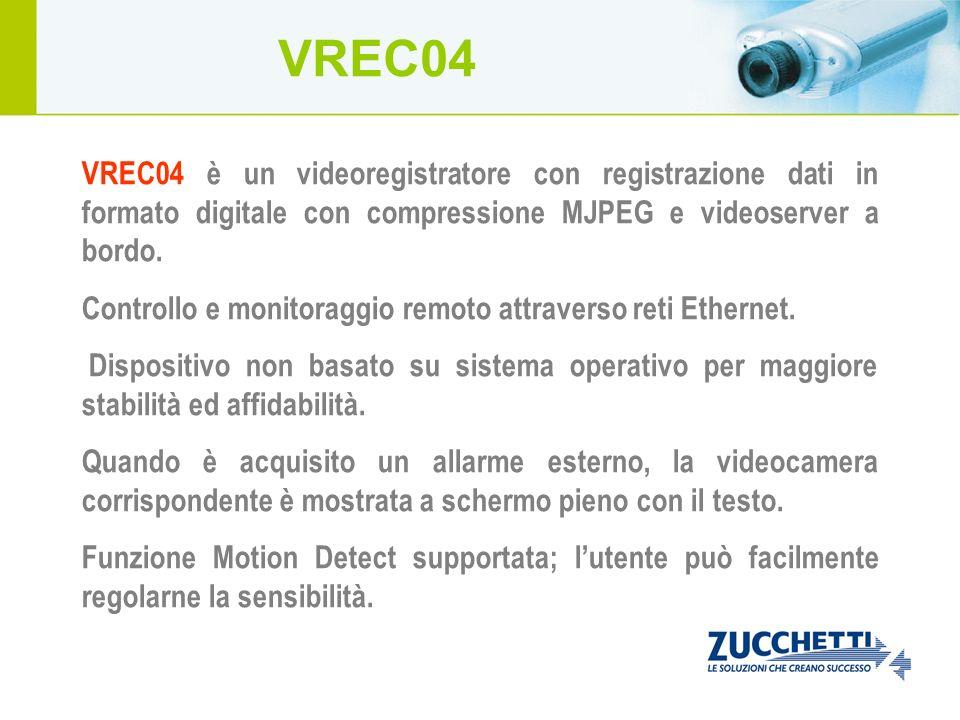 VREC04 è un videoregistratore con registrazione dati in formato digitale con compressione MJPEG e videoserver a bordo. Controllo e monitoraggio remoto