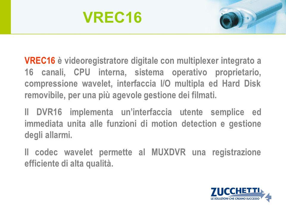 VREC16 è videoregistratore digitale con multiplexer integrato a 16 canali, CPU interna, sistema operativo proprietario, compressione wavelet, interfac