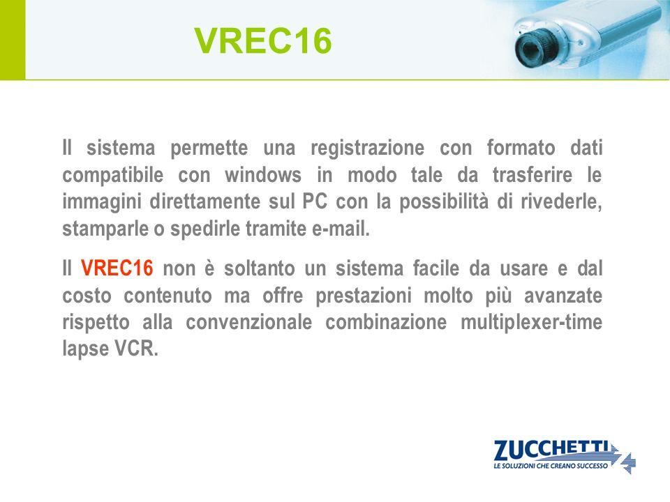 Il sistema permette una registrazione con formato dati compatibile con windows in modo tale da trasferire le immagini direttamente sul PC con la possi