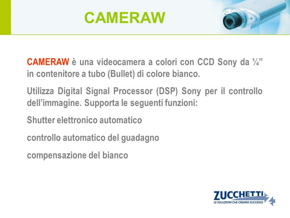 CAMERAW è una videocamera a colori con CCD Sony da ¼ in contenitore a tubo (Bullet) di colore bianco. Utilizza Digital Signal Processor (DSP) Sony per