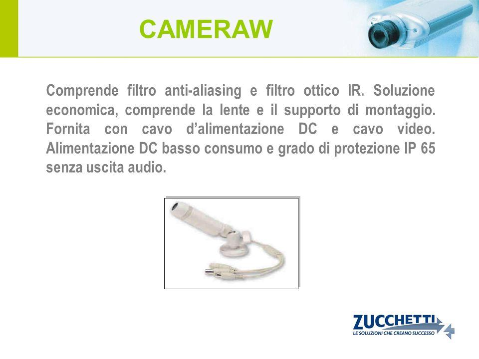 Comprende filtro anti-aliasing e filtro ottico IR. Soluzione economica, comprende la lente e il supporto di montaggio. Fornita con cavo dalimentazione