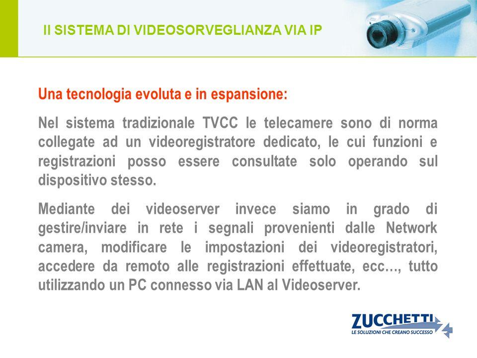 Il SISTEMA DI VIDEOSORVEGLIANZA VIA IP Una tecnologia evoluta e in espansione: Nel sistema tradizionale TVCC le telecamere sono di norma collegate ad