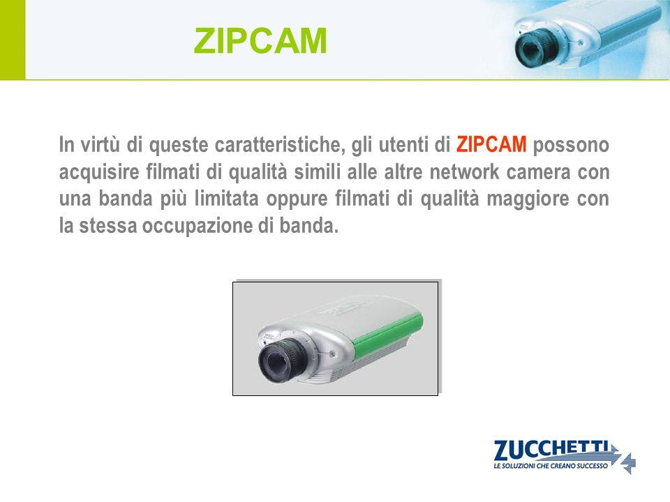 In virtù di queste caratteristiche, gli utenti di ZIPCAM possono acquisire filmati di qualità simili alle altre network camera con una banda più limit
