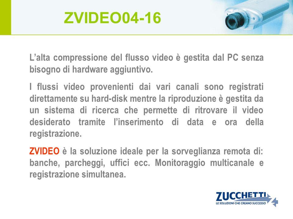 Lalta compressione del flusso video è gestita dal PC senza bisogno di hardware aggiuntivo. I flussi video provenienti dai vari canali sono registrati