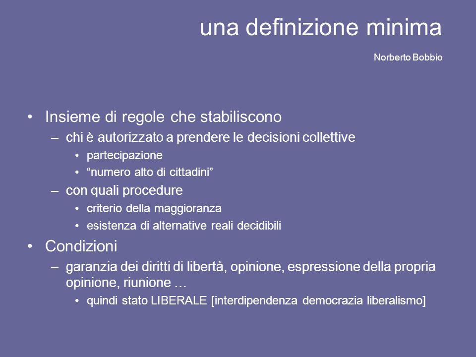 una definizione minima Norberto Bobbio Insieme di regole che stabiliscono –chi è autorizzato a prendere le decisioni collettive partecipazione numero