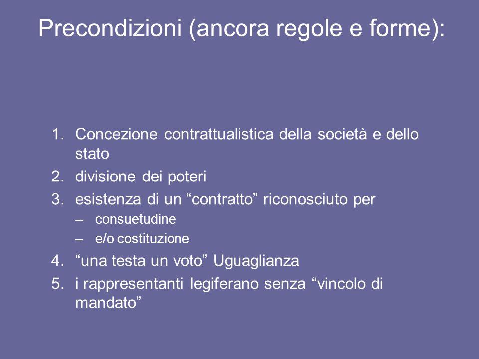 Precondizioni (ancora regole e forme): 1.Concezione contrattualistica della società e dello stato 2.divisione dei poteri 3.esistenza di un contratto r