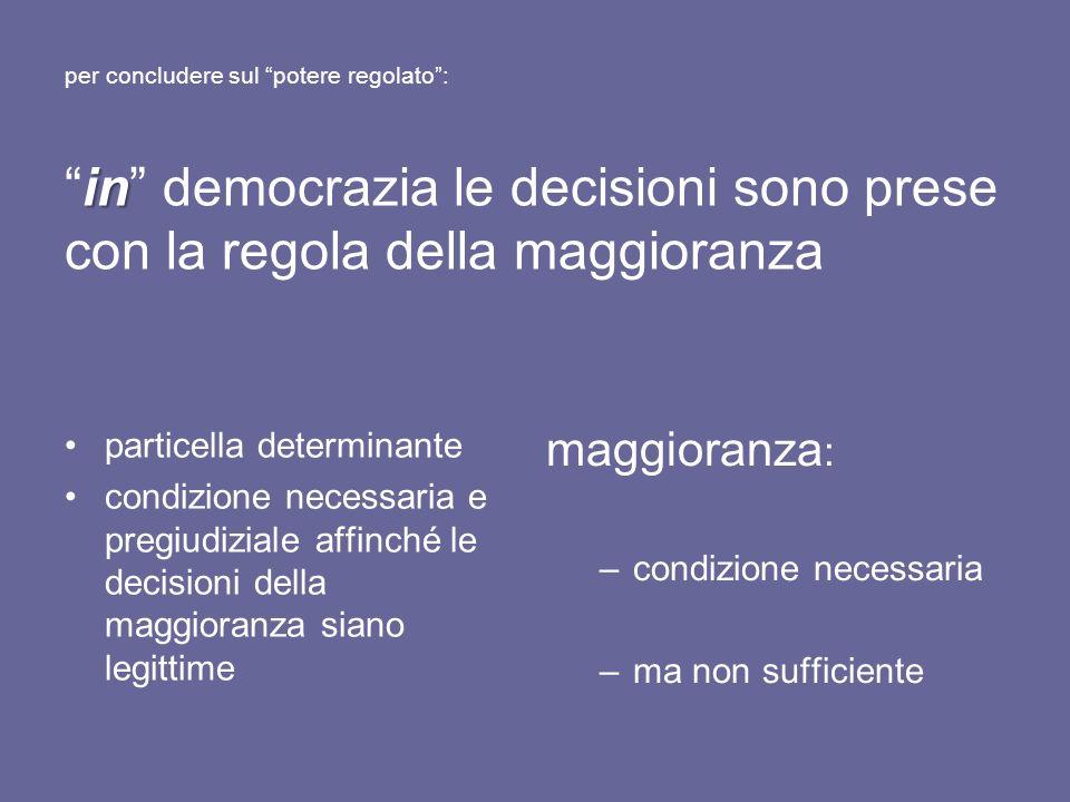 in per concludere sul potere regolato:in democrazia le decisioni sono prese con la regola della maggioranza particella determinante condizione necessa