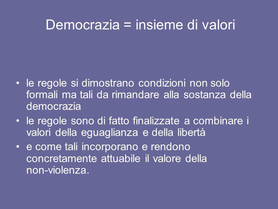 Democrazia = insieme di valori le regole si dimostrano condizioni non solo formali ma tali da rimandare alla sostanza della democrazia le regole sono