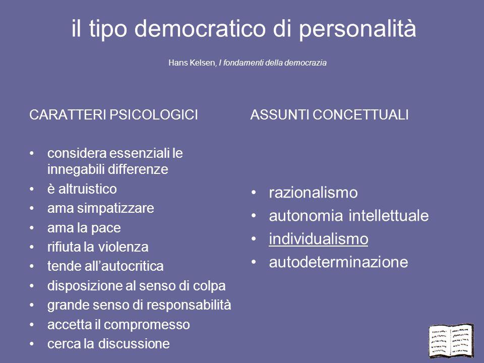 il tipo democratico di personalità Hans Kelsen, I fondamenti della democrazia CARATTERI PSICOLOGICI considera essenziali le innegabili differenze è al