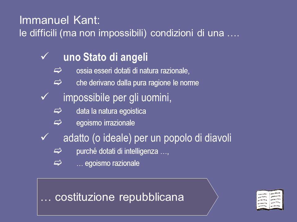 Immanuel Kant: le difficili (ma non impossibili) condizioni di una …. uno Stato di angeli ossia esseri dotati di natura razionale, che derivano dalla